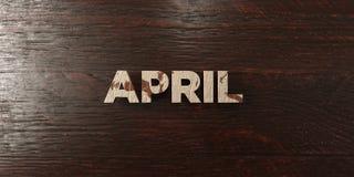April - grungy houten krantekop op Esdoorn - 3D teruggegeven royalty vrij voorraadbeeld Royalty-vrije Stock Foto's