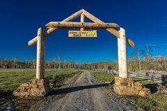 APRIL 27, 2017 - HASTINGS MESA near RIDGWAY AND TELLURIDE COLORADO - Aspen View Ranch gate in San. Outdoors, Beauty In Nature. APRIL 27, 2017 - HASTINGS MESA royalty free stock image