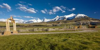 APRIL 27, 2017 - HASTINGS MESA near RIDGWAY AND TELLURIDE COLORADO - Ranch Gate for historic Last. Southwest USA, Mountain. APRIL 27, 2017 - HASTINGS MESA near stock images