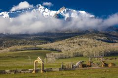 APRIL 27, 2017 - HASTINGS MESA near RIDGWAY AND TELLURIDE COLORADO - Ranch Gate for historic Last. Landscape, Valley. APRIL 27, 2017 - HASTINGS MESA near RIDGWAY royalty free stock photo