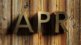 April-het messing schrijft op ruwe houten achtergrond - het 3D teruggeven stock illustratie