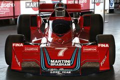 21 April 2018: Historic F1 Cars Brabham BT45 sponsorized by Martini Racing exposed at Motor Legend Festival 2018 at Imola. Circuit in Italy stock photo
