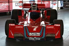 21 April 2018: Historic F1 Cars Brabham BT45 sponsorized by Martini Racing exposed at Motor Legend Festival 2018 at Imola. Circuit in Italy royalty free stock photo