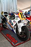 21 April 2018: Honda NSR 500 of legendary driver Freddie Spencer at Motor Legend Festival 2018 at Imola Circuit. In Italy royalty free stock photography