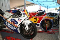 21 April 2018: Honda NSR 500 of legendary driver Freddie Spencer at Motor Legend Festival 2018 at Imola Circuit. In Italy stock photography