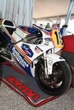 21 April 2018: Honda NSR 500 of legendary driver Freddie Spencer at Motor Legend Festival 2018 at Imola Circuit. In Italy stock photos