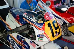 21 April 2018: Honda NSR 500 of legendary driver Freddie Spencer at Motor Legend Festival 2018 at Imola Circuit. In Italy royalty free stock images