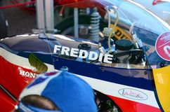21 April 2018: Honda NSR 500 of legendary driver Freddie Spencer at Motor Legend Festival 2018 at Imola Circuit. In Italy royalty free stock photo