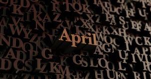 April - Houten 3D teruggegeven brieven/bericht Stock Afbeeldingen