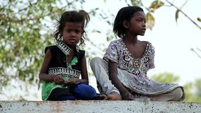 April 2016. India. Bihar. Scared poor indian village children. stock video