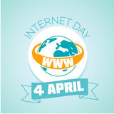 4 April Internet day. Calendar for each day on April 4. Holiday - Internet day. Icon in the flat style Stock Image