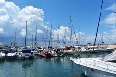 11 april 2018, Jaffa, Tel Aviv, Israel, Middle East. Boats in Jaffa Port, oldest part of Tel Aviv city. Sailing boats in Old Jaffa Port, Israel, one of the royalty free stock image