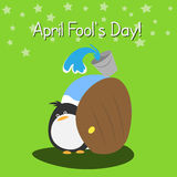 1 April. The joke with the penguin, the trick with the water, 1 April Stock Photography