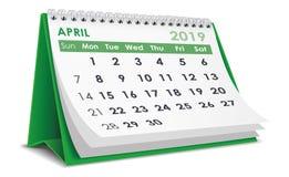 April 2019 kalender royaltyfri illustrationer