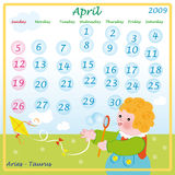 April-Kalender 2009 Lizenzfreie Stockfotos