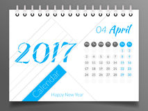 April 2017 Kalender 2017 Lizenzfreies Stockbild
