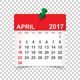 April 2017 Kalender Lizenzfreie Stockfotos