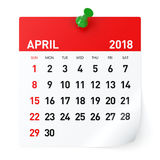 April 2018 - kalender Arkivfoton