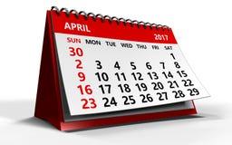 April 2017 Kalender Lizenzfreie Stockbilder
