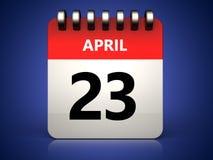 am 23. April Kalender 3d Lizenzfreies Stockbild