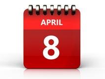 am 8. April Kalender 3d Stockbilder
