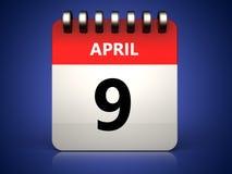 am 9. April Kalender 3d Lizenzfreie Stockfotografie