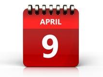 am 9. April Kalender 3d lizenzfreie abbildung