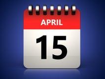 am 15. April Kalender 3d Stockbilder