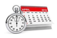 April 2018 kalender med stoppuren framförande 3d Arkivfoto