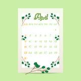April 2017 kalender med trädfilialer på grön bakgrund Arkivbild