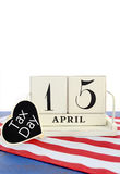 15. April Kalenderanzeige für USA-Steuer-Tag Stockfotografie