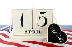 15 april kalenderherinnering voor de Belastingsdag van de V.S. Stock Foto's