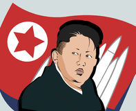 17 April 2017 Kim, Jong-un. Portrait on a background of a flag and a weapon Vector Illustration