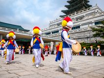 APRIL 14, 2018, The Korean traditional percussion band is performing at Hanok Village in seoul, South Korea.`Pungmul` was performe royalty free stock photos