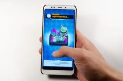 April, 2019 Kramatorsk, de Oekraïne Mobiele toepassing en spelen royalty-vrije stock fotografie