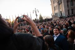 Poroshenko  thanked Ukrainians who came to thank him and support him. April 22, 2019. Kyiv, Ukraine President of Ukraine Petro Poroshenko came to the square in stock images