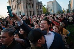 Poroshenko  thanked Ukrainians who came to thank him and support him. April 22, 2019. Kyiv, Ukraine President of Ukraine Petro Poroshenko came to the square in royalty free stock image