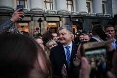 Poroshenko  thanked Ukrainians who came to thank him and support him. April 22, 2019. Kyiv, Ukraine President of Ukraine Petro Poroshenko came to the square in royalty free stock photography