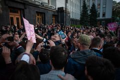 Poroshenko  thanked Ukrainians who came to thank him and support him. April 22, 2019. Kyiv, Ukraine President of Ukraine Petro Poroshenko came to the square in stock photos