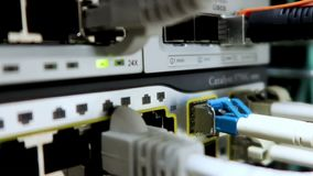 April 19, 2018: LED port status is blink. Network gigabit switch for high speed network in data center room. RJ4. RUSSIA, MOSCOW - April 19, 2018: LED port stock video footage