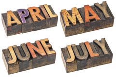April, May, June and July  in letterpress wood type Royalty Free Stock Photos