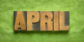 Free April Month In Wood Type Stock Image - 165230101