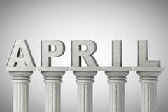April month sign on a classic columns Royalty Free Stock Photos