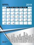 APRIL 2019 Month template, Desk Calendar for 2019 year, week start on sunday, planner. Stationery, Blue Concept, vertical layout vector illustration Stock Image