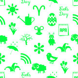 April month theme set of simple green icons seamless pattern eps10. April month theme set of simple green icons seamless pattern Stock Image