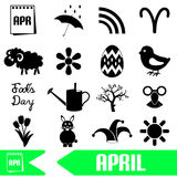 April month theme set of simple icons eps10 Royalty Free Stock Image