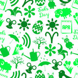 April month theme set of simple icons seamless green pattern eps10 Stock Image