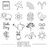 April month theme set of simple outline icons eps10. April month theme set of simple outline icons Royalty Free Stock Image
