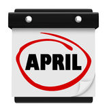 April Month Word Wall Calendar minns schema Royaltyfri Bild