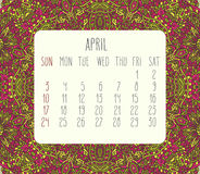 April 2016 monthly calendar. April 2016 vector monthly calendar over lacy doodle hand drawn background, week starting from Sunday Stock Photography